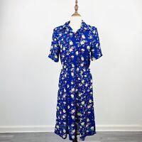Vintage Kitly Womens Tea Day Dress Blue Floral Short Sleeve Size 10