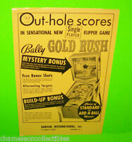 GOLD RUSH By Bally 1966 ORIGINAL Flipper Game PINBALL MACHINE PROMO SALES FLYER