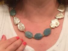 """23 1/4"""" Aquamarine and Large Baroque Pearl Necklace, 18K Clad Sterling 925"""