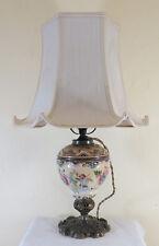 LAMPE ANTIQUE ABAT JOUR DE TABLE BUREAU CHEVET SALON PLAGE CERAMICA12 R128