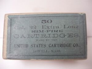 Rare Original US Cartridge Ammunition Box 50 22 Extra Long Rim Fire Empty # 2