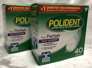 NEW X2 Polident Antibacterial Denture Daily Cleanser For Partials 40 Tablets
