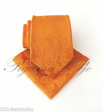New Men's Orange Neck tie and Pocket Square Hankie Set Formal Wedding 600-EE