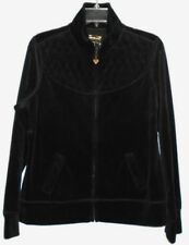 THREE HEARTS jrs/wms black quilted yoke zip front velour jacket size M
