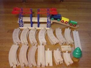 Wood Train Track LOT For Thomas Tank Engine Wooden Railway Brio Cars Bridge