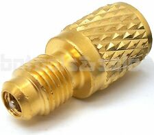 """ACME AC R134a Brass Adapter Fitting 1/4"""" Male to 1/2"""" Female with Valve Core"""
