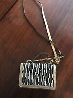 Kate Landry Animal Tiger Gold & Black w/sequins Cross Body Wallet Purse Bag