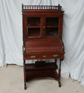 Antique Victorian Secretary Roll top Desk with Bookcase – 30 inches wide