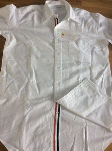 Thom Brown Classic Style  White Placket In Oxford Long Sleeve Shirt Size 5 BNWT