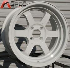 WHITE 16X8 +20 ROTA GRID V 4X100 WHEELS FIT XA XB YARIS JETTA CIVIC SI EG6 EK9
