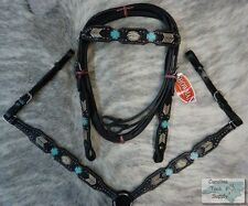 Showman BLACK Bridle, Breast Collar & Reins Set w/ Turquoise Stone Crosses! NEW!