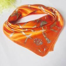 Orange belts & chains Soft Neckerchief Shawl Head Bandanas Square Scarf Satin