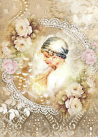 Vintage Girl and Lace Collage #2 - 8x10 Craft and Quilt Cotton Fabric Block
