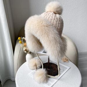Women's Warm Real Fox Fur Hat Knitted Earflap Ski Cap W Fox Fur Trim Beanies