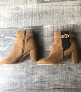 BNWT Dorothy Perkins Tan Ankle Boots Almie Mid Heel Suede Sz7 UK 40EU RRP £35