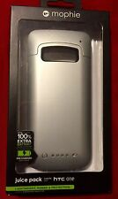 Mophie Juice Pack Rechargeable External Battery Case for HTC ONE M7 - Silver