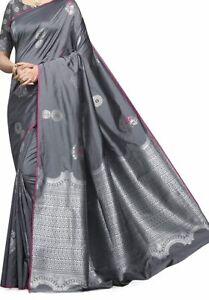 Indien Gris Banarasi Art Soie Sari Zari Bordure Sari Avec Chemisier PieceNAS-12