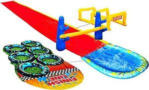 Banzai Aqua Blast Obstacle Course Slide 16'L Inflatable Backyard Aqua Water Park