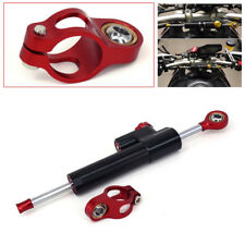 Universal 25.5cm Motorcycle CNC Aluminum Steering Stabilizer Damper Black+Red
