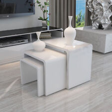 High Gloss White Nest of 3 Coffee Table Side End Tables Living Room Furniture