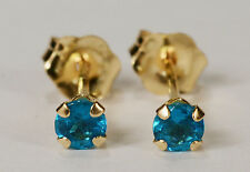 BEENJEWELED GENUINE NATURAL MINED APATITE EARRINGS~ 14 KT YELLOW GOLD~3MM