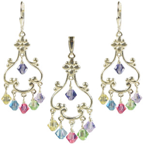Multi-Color SS Earrings & Pendant made with Swarovski Crystal Elements
