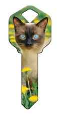 """HAPPY KEYS  """" SIAMESE CAT """" House Key Blank Kwikset KW1/10 REVERSIBLE"""