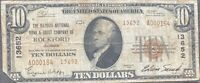 USA 10 Dollar 1929 National Currency $10 Rockford Selten Banknote #22097