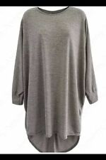 Women's Long Loose Fit Batwing Top Jumper Ladies Knitted Oversized Hi Lo Hem Silver Grey XL UK 16-18