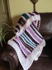Fun Colorful Crochet Afghan / Throw Blanket    >