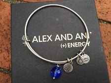 Rare Alex and Ani Crystal Cobalt Oona Drop Charm Beaded Bangle Silver Bracelet💎