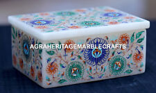 Antique White Marble Jewelry Box Micro Mosaic Inlay Marquetry Decor Gifts H1955