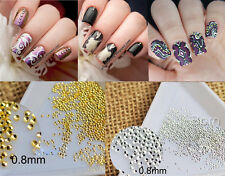 200Pcs Mini Dot 3D Nail Art Studs Gold Silver Rhinestone Manicure Decor 0.8mm