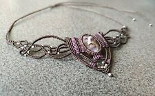 Handmade Natural Amethyst Macrame Beaded Necklace Brown - Purple Adjustable