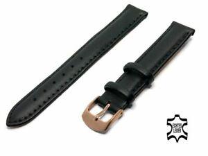 UHRENARMBAND 12 mm weiches Kalbsleder Schwarz Ziernaht Rosegoldfarbige Schließe
