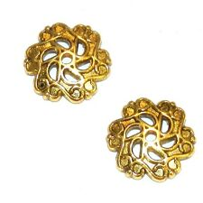 M5196p Antiqued Gold 12mm Open Scalloped Flower Metal Bead Caps 25/pkg