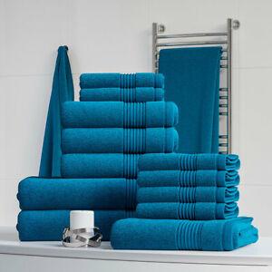 Towel Set 100% Cotton Teal Bath Sheet Large Bale 550 GSM Bathroom & 6 Piece Sets