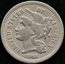 USA 1865 Three Cent Nickel 3 Cent SELTEN 4374