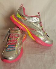 NIB SKECHERS Girls Size 4 Lite Kicks Sprinterz Silver/Neon Pink Shoes
