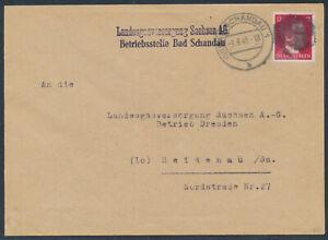 SBZ 12 Pfennig Schwärzung EF Brief Bad Schandau 1945 nach Heidenau (3691)