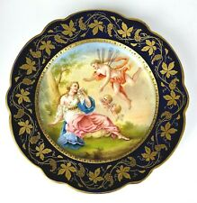 HAND PAINTED ROYAL VIENNA STYLE CABINET PLATE GOLD COBALT BLUE AMOR & PSYCHE