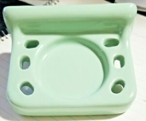Vintage Green Glossy Porcelain Toothbrush & Cup Holder - Japan