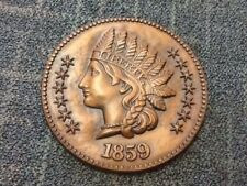 Large Plaster 1859 Indian Head Penny-12 in Round-Great for the Coin Collector-