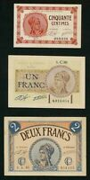 1920 Paris Chamber Of Commerce 3  French Emergency Notes 50 Cent, 1 & 2 Francs