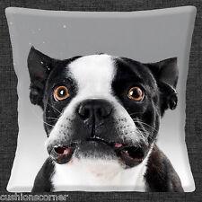perro boston terrier Funda de cojín 40.6x40.6cm 40cm Divertido Placa Frontal