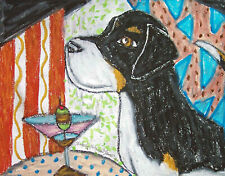 Greater Swiss Mountain Dog drinking a Martini 5x7 Dog Art Print