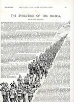 1896 ARTICLE ~ THE EVOLUTION OF THE MILITIA ~ ARMY TRAINING CAMPS PHYSIQUE ETC