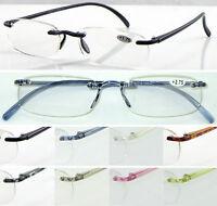 L9 Rimless Reading Glasses/Super Lightweight Memory Plastic/Classic Style Design