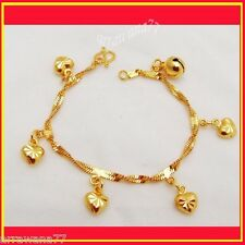 Heart 23K 24K THAI BAHT YELLOW GOLD GP Charm Bracelet 7 INCH