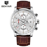 BENYAR 3 ATM Waterproof Genuine Leather Band Men Quartz Wrist Watch Gift Box